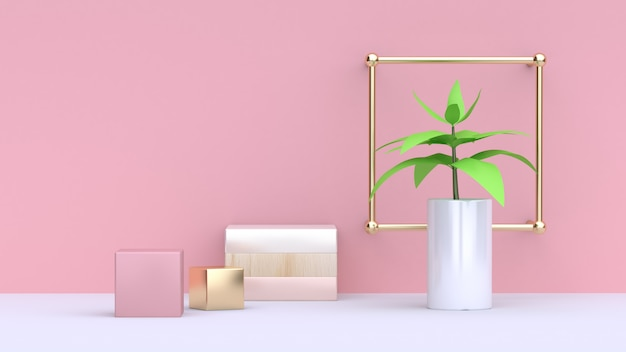 Green leaf of tree in white pot and abstract pink gold cube pink wall minimal background 3d rendering Premium Photo