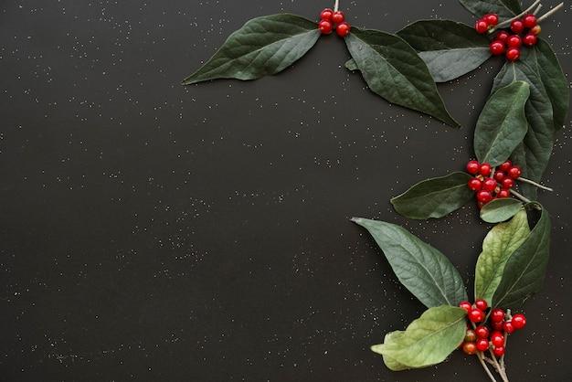 딸기와 녹색 전단지 무료 사진
