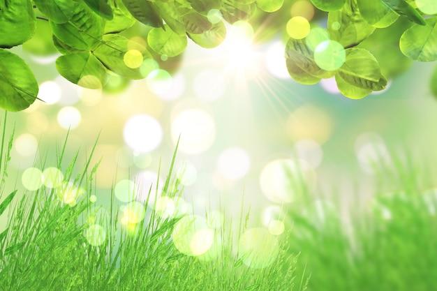 녹색 나뭇잎과 나뭇잎 조명 배경에 잔디 무료 사진