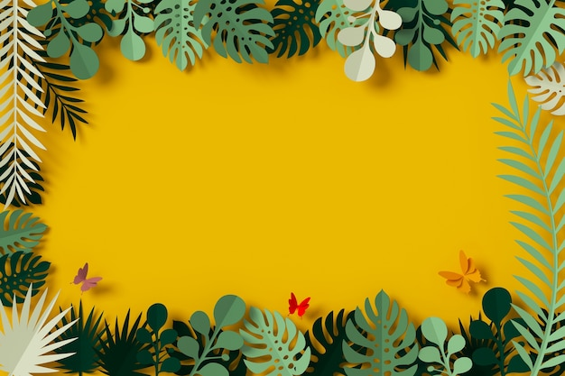 Green leaves are framed on yellow background, butterfly paper fly Premium Photo