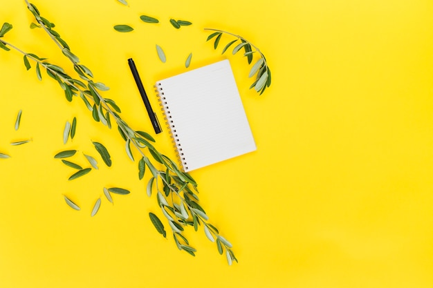 Green leaves with pen and spiral blank notepad on yellow background Free Photo
