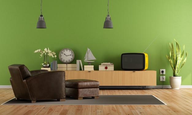 レトロなテレビのある緑のリビングルーム Premium写真