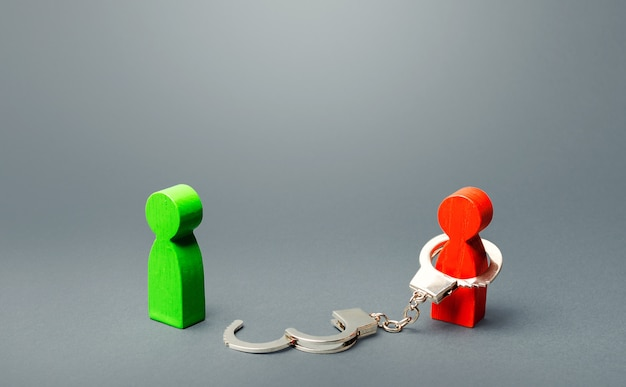緑の男は赤い人の監禁から解放されます。自由を見つけ、奴隷制をやめる Premium写真