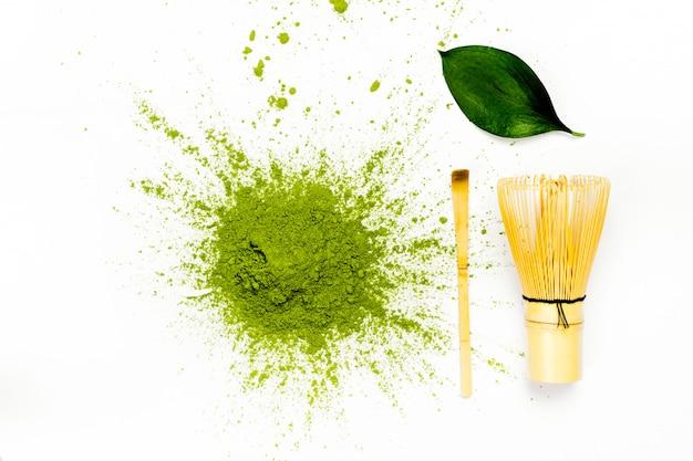 Green matcha tea powder Premium Photo