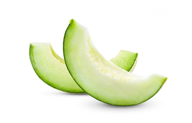 Green melon isolated on white background Premium Photo