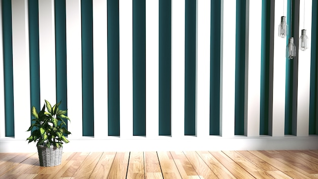 Green mint wall on wood floor interior. 3d rendering Premium Photo
