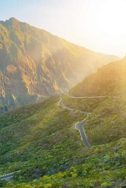 Зеленые горы холмов и извилистая дорога возле деревни маска в солнечный день, тенерифе, канарские острова, испания Бесплатные Фотографии