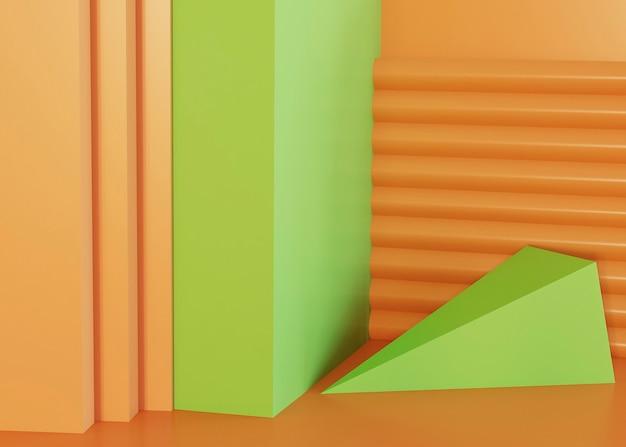 Green and orange geometric shapes background Premium Photo
