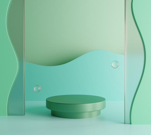 제품 모형에 대한 녹색 붙여 넣기 연단 배경입니다. 3d 렌더링 Premium Photo 프리미엄 사진