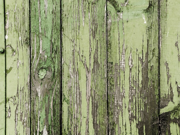 Green peeled paint of wooden plank texture Free Photo