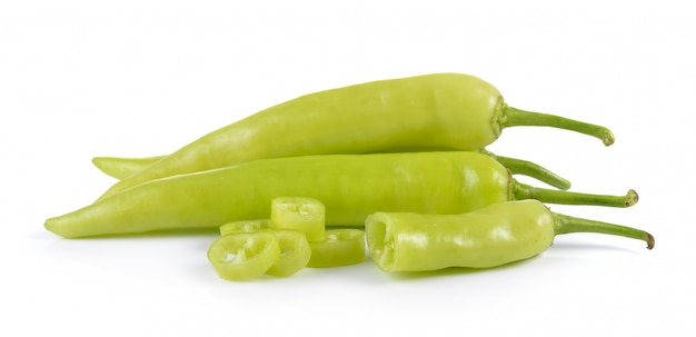 Green peppers isolated on white background Premium Photo