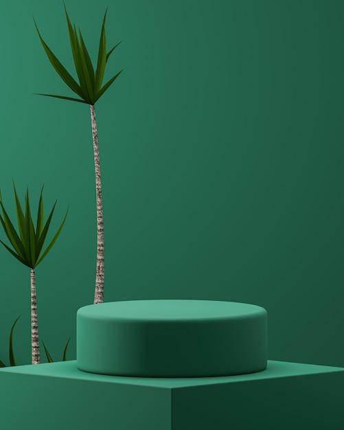 製品配置3dレンダリングのための熱帯の木の背景を持つ緑の表彰台 Premium写真