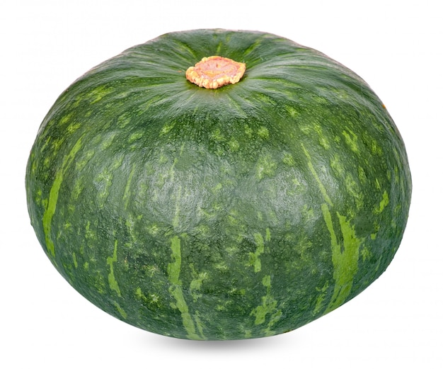 Green pumpkin isolated on white clipping path Premium Photo