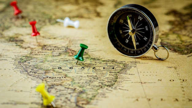 Green pushpin marking a location on brazil map. Premium Photo