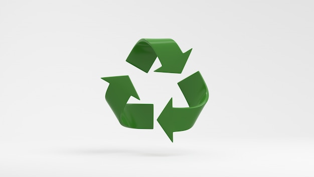 Green recycle symbol on white background 3d render Premium Photo