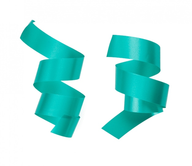 Green ribbon border isolated on white background Premium Photo