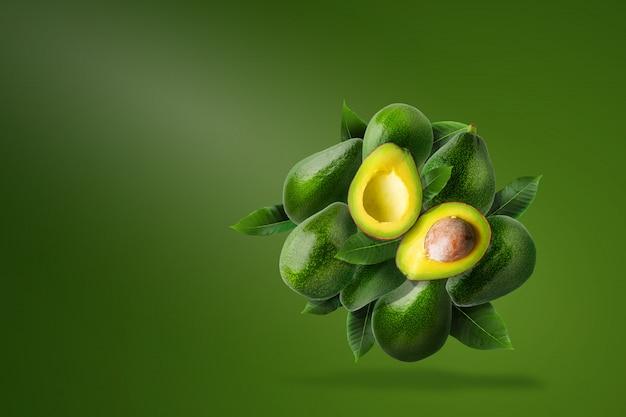 Green ripe avocado composition Premium Photo