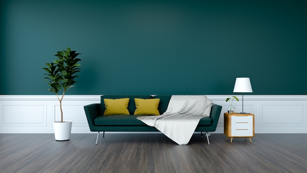 Green sofa and plant with wood cabinet on wood flooring and  green wall  /3d render Premium Photo