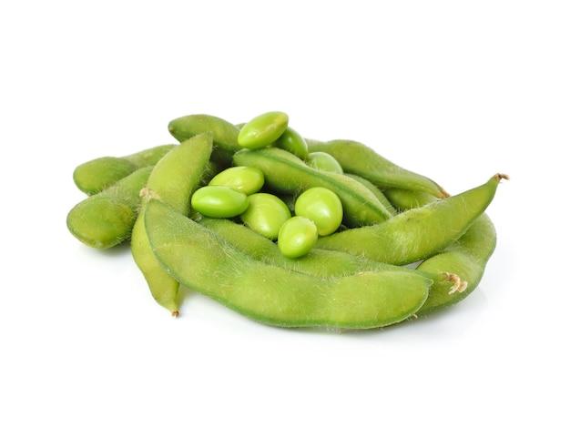 Green soybeans on white background Premium Photo