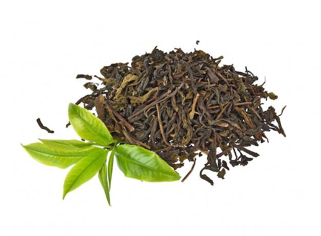 Green tea leaf isolated on white background Premium Photo