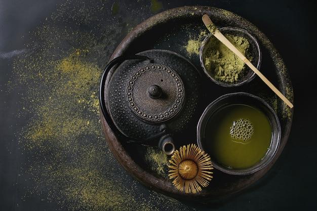 Green tea matcha powder and drink Premium Photo
