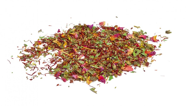 Green tea with dry flowers. close up Premium Photo