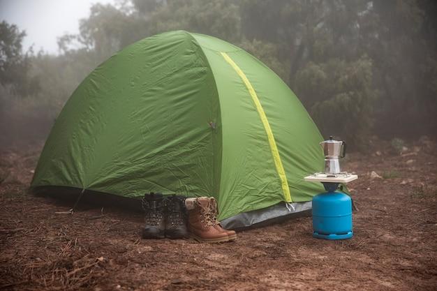 Green tent set up in the forest Free Photo