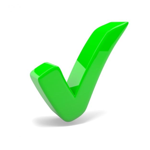 Green tick mark on white background Premium Photo