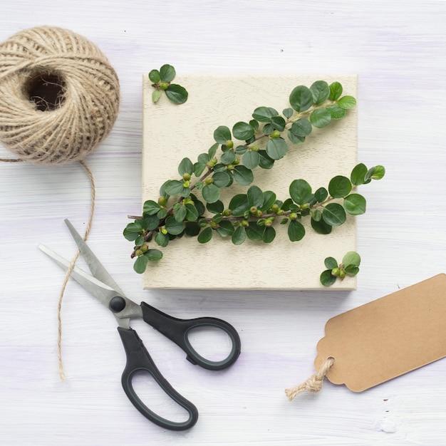 Зеленая ветка с ягодами; тег; ножницеобразный; и струнная катушка на деревянном текстурированном фоне Бесплатные Фотографии
