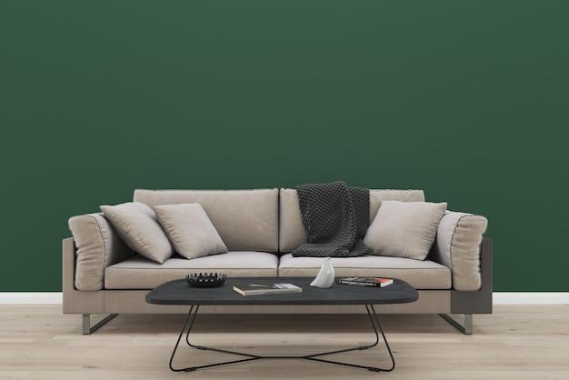 Green Wall Brown Fabric Sofa Living Room Vintage Interior Photo