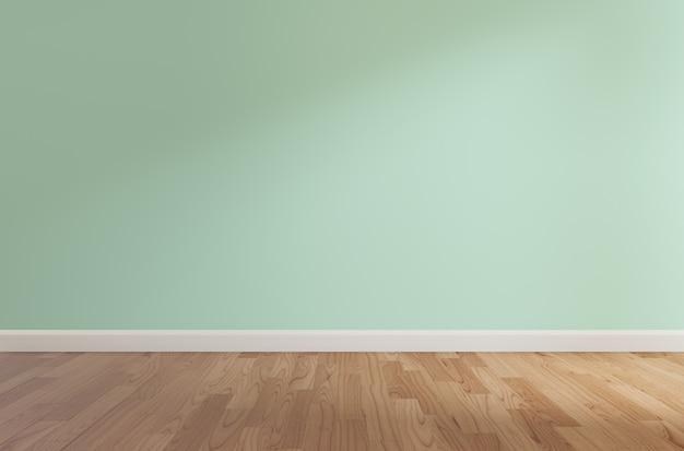 Green wall and wooden floor,3d rendering Premium Photo