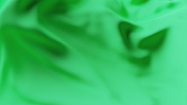 緑の波の生地の表面。抽象的な柔らかい背景。 Premium写真
