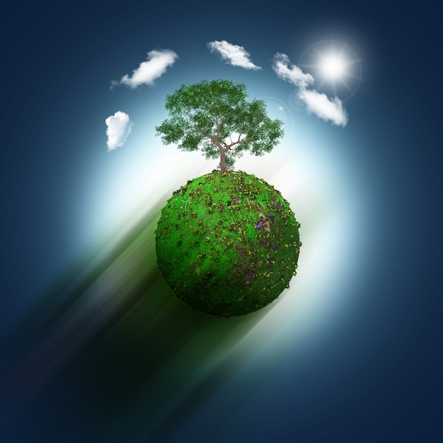 Green World With A Tree Photo Free Download