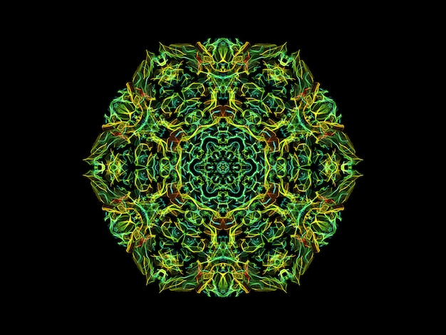 Green and yellow abstract flame mandala flower, ornamental floral hexagonal pattern on black background. Premium Photo