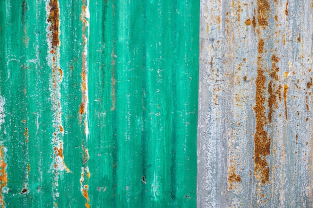Green zinc texture of old zinc surface galvanized rust from the fence Premium Photo