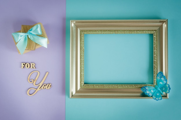 Greeting card for you on a purple background Premium Photo