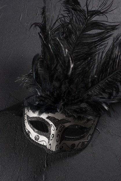 Grey carnival mask with feather on table Free Photo