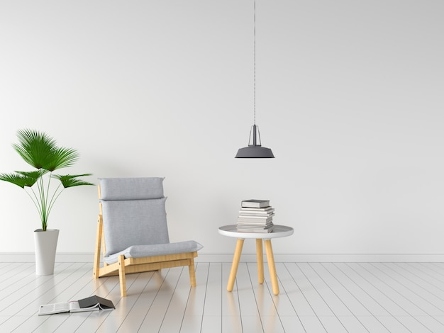 Grey chair in white room for mockup Premium Photo
