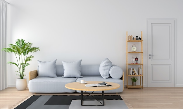 Grey sofa and pillow in white living room Premium Photo