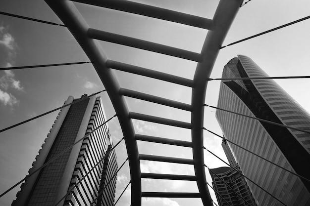 Greyscale architectural bridge in bangkok Free Photo