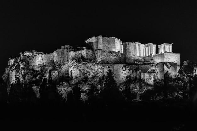 夜の間に木々に囲まれたライトの下でオリンピュアゼウス神殿のグレースケール 無料写真