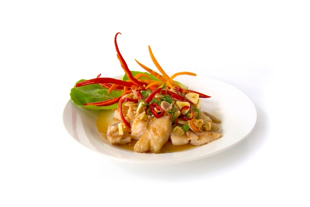 Grill pangasius dory fish with tamarind sauce and slice fresh lemon grass Premium Photo