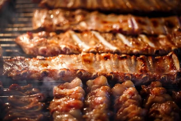 Grilled  barbecue ribs on the grill Premium Photo