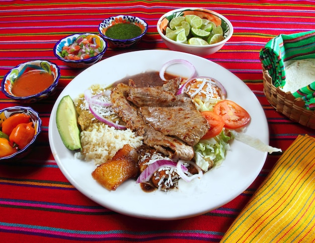 Grilled beef fillet assorted mexican dish chili sauce Premium Photo