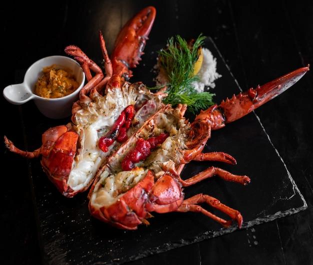 Grilled boston lobster. Premium Photo