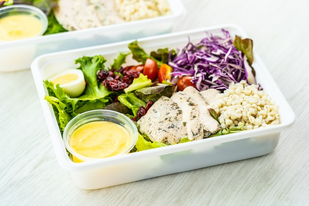 Grilled chicken breast and meat salad Free Photo