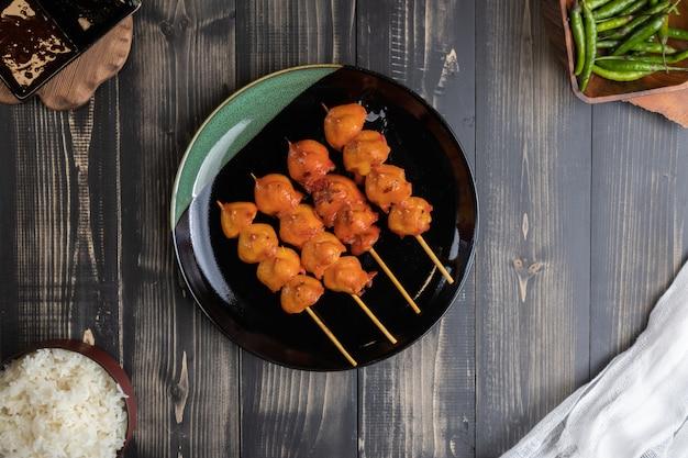 Grilled chicken butt skewer at thailand Premium Photo