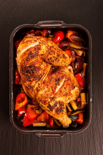 Grilled chicken with baked vegetables Premium Photo