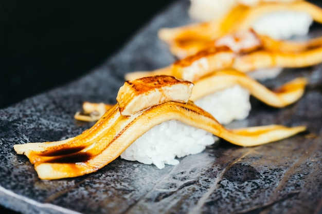 Grilled eel fish sushi with foie gras on top Free Photo