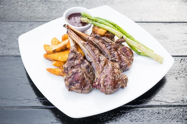Grilled lamb chop steak Free Photo